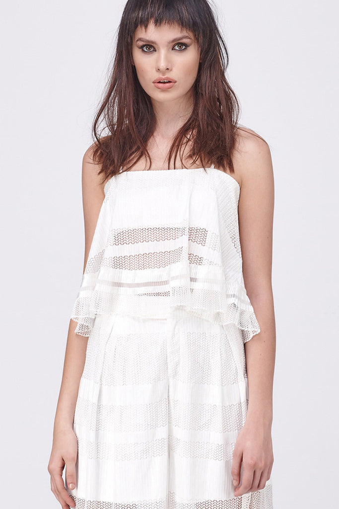 GRAPHIC MESH BANDEAU FLARE TOP - WHITE