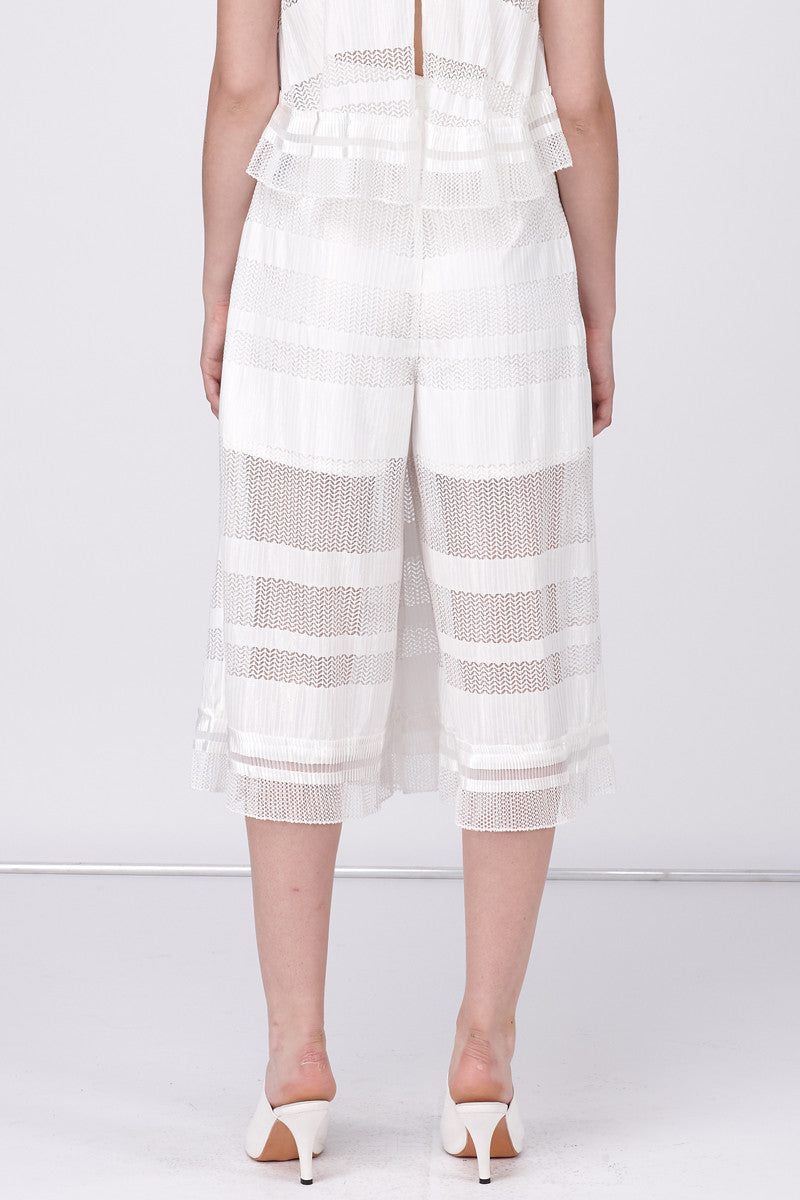GRAPHIC MESH CULLOTE PANT - WHITE