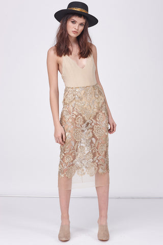 GOLD LEAF PENCIL SKIRT