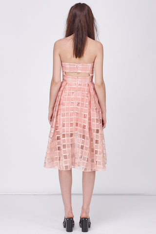 ORGANZA CHECK BANDEAU DRESS - BLUSH