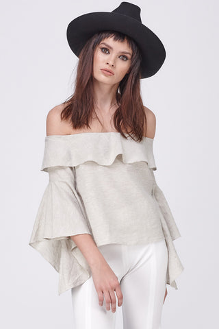 LINEN OFF SHOULDER FLARE SLEEVE TOP - STONE