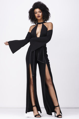 LOVE CHILD FLARE SPLIT JUMPSUIT - BLACK