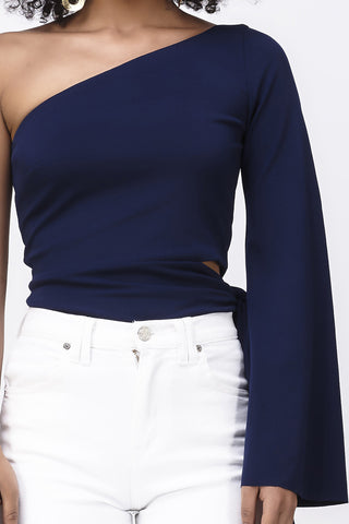 FINE AND MELLOW SIDE TIE TOP - NAVY