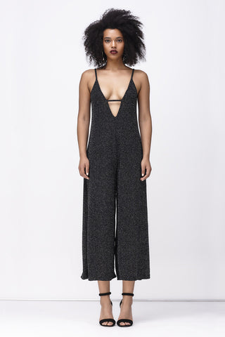 REFLECTIONS DEEP V JUMPSUIT - BLACK GLITTER