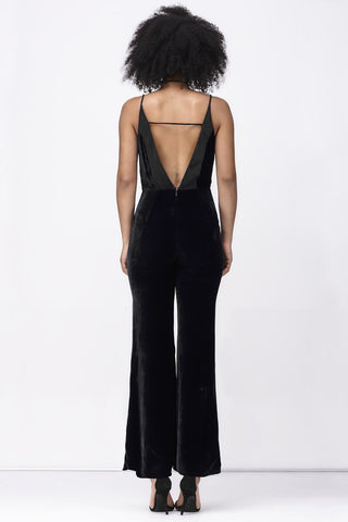 REFLECTIONS DEEP V JUMPSUIT - BLACK