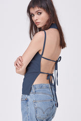 BOOGIE NIGHTS HALTER TOP - NAVY
