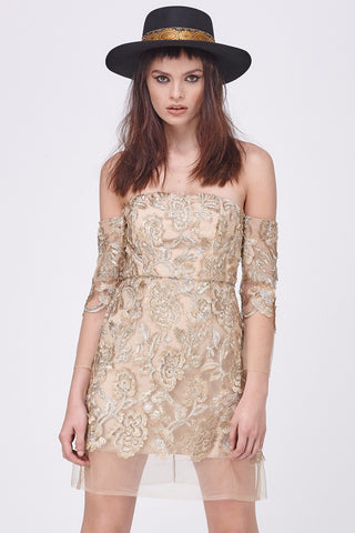 GOLD LEAF COLD SHOULDER MINI DRESS