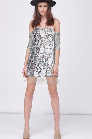 SILVER LEAF COLD SHOULDER MINI DRESS