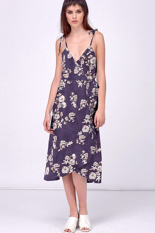 MOODY FLOWER TIES FLARE WRAP DRESS