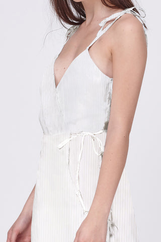 SHEER STRIPE ASYMETRICAL WRAP DRESS - WHITE