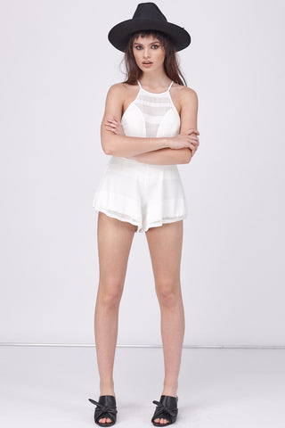 GRAPHIC MESH SWEETHEART ROMPER - WHITE