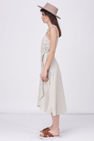 LINEN GROS GRAIN WRAP DRESS - STONE