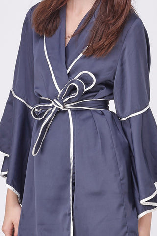 PYJAMA WRAP DRESS - NAVY WHITE BIND
