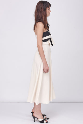BOW SCANLAN DRESS - BUTTERMILK BLACK