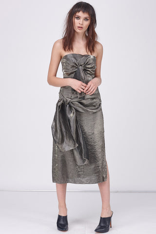 METALLIC BOW TIES DRESS - SILVER