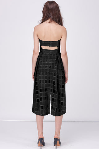 ORGANZA CHECK JUMPSUIT - BLACK