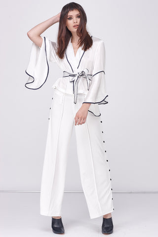 BUTTON UP PJ PANT - WHITE