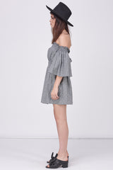 SMOCKED GINGHAM OFF SHOULDER DRESS - BLACK WHITE
