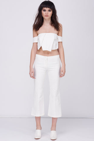CONTRAST LINEN TRACK PANT - WHITE