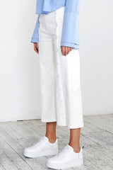BUTTON ME UP CROP TWILL JEANS - WHITE - Shakuhachi