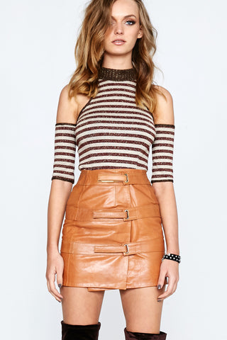 OUT OF AFRIKA TRIPLE STRAP LEATHER SKIRT TAN - Shakuhachi