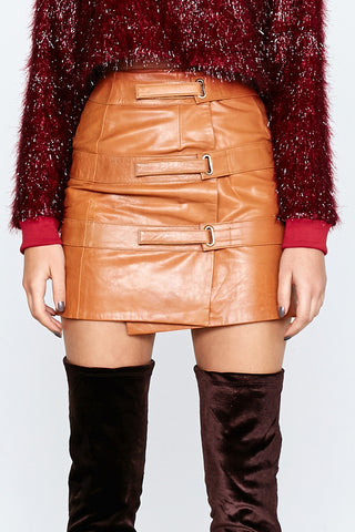 OUT OF AFRIKA TRIPLE STRAP LEATHER SKIRT TAN