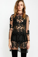BLACK FEATHER MINI DRESS