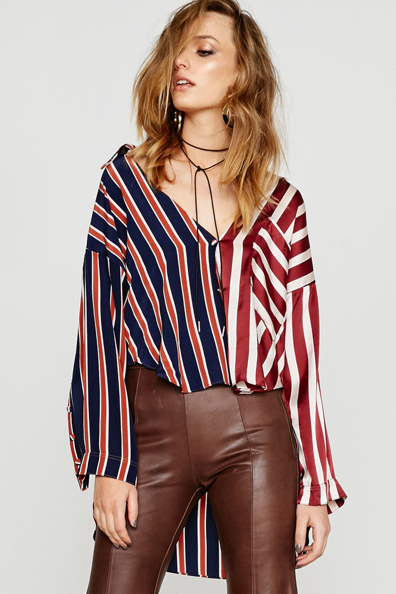 STRIPE MASH ASYMMETRICAL SHIRT - MULTI STRIPES