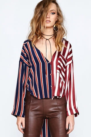 STRIPE MASH ASYMMETRICAL SHIRT - MULTI STRIPES - Shakuhachi