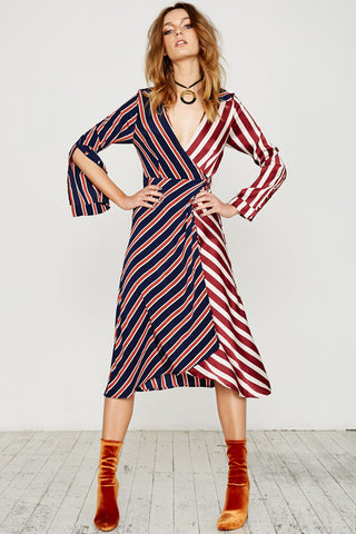 STRIPE MASH ASYMMETRICAL WRAP DRESS - MULTI STRIPES