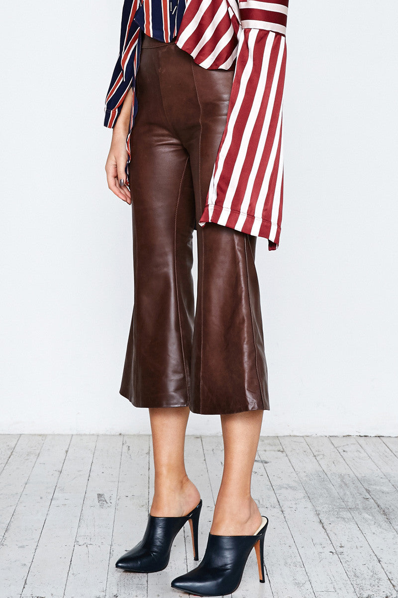 LEATHER CROP FLARE PANT - BROWN - Shakuhachi