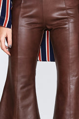 LEATHER CROP FLARE PANT - BROWN