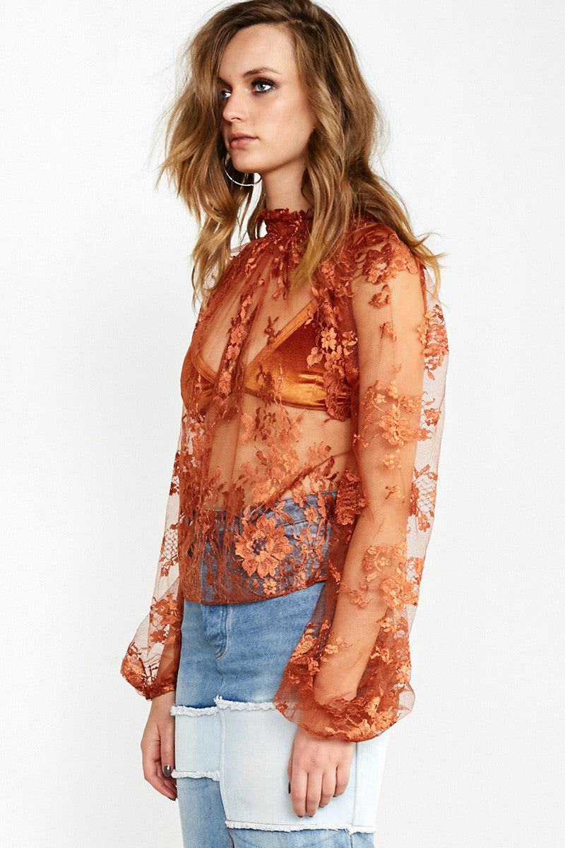 LINDA LOVELACE LONG SLEEVE TOP - ORANGE