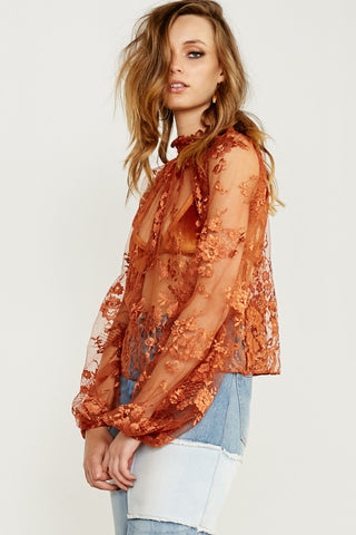 LINDA LOVELACE LONG SLEEVE TOP - ORANGE - Shakuhachi