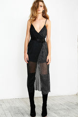 DISCO NIGHTS WRAP DRESS - BLACK SILVER