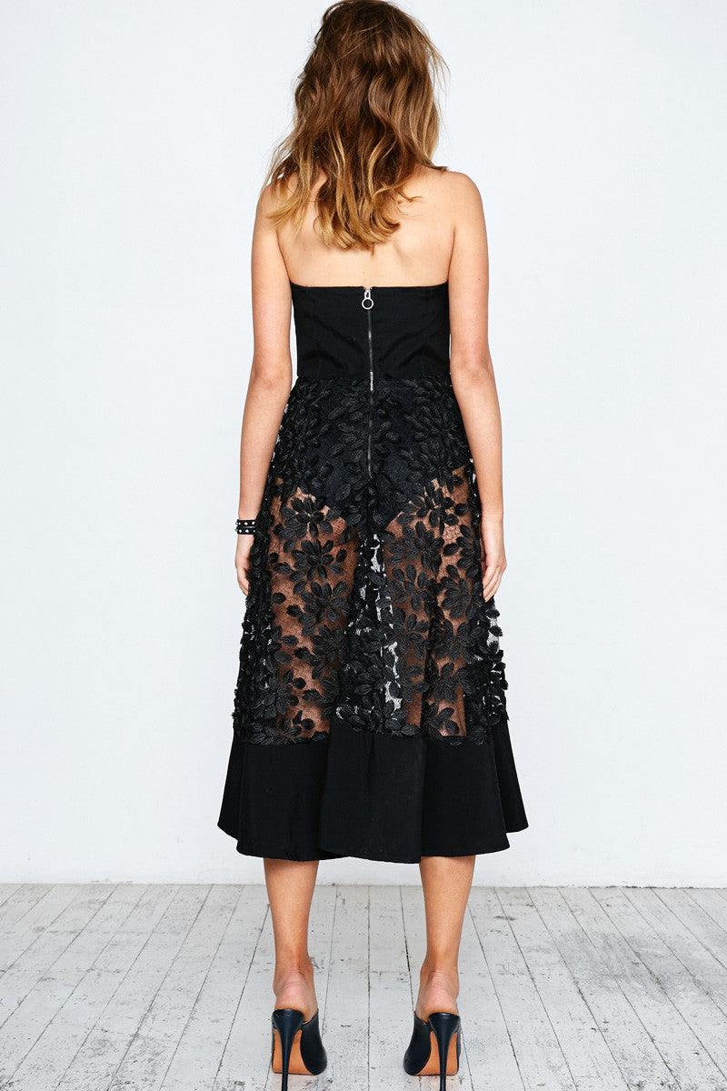 BLACK FEATHER BUSTIER DRESS - Shakuhachi