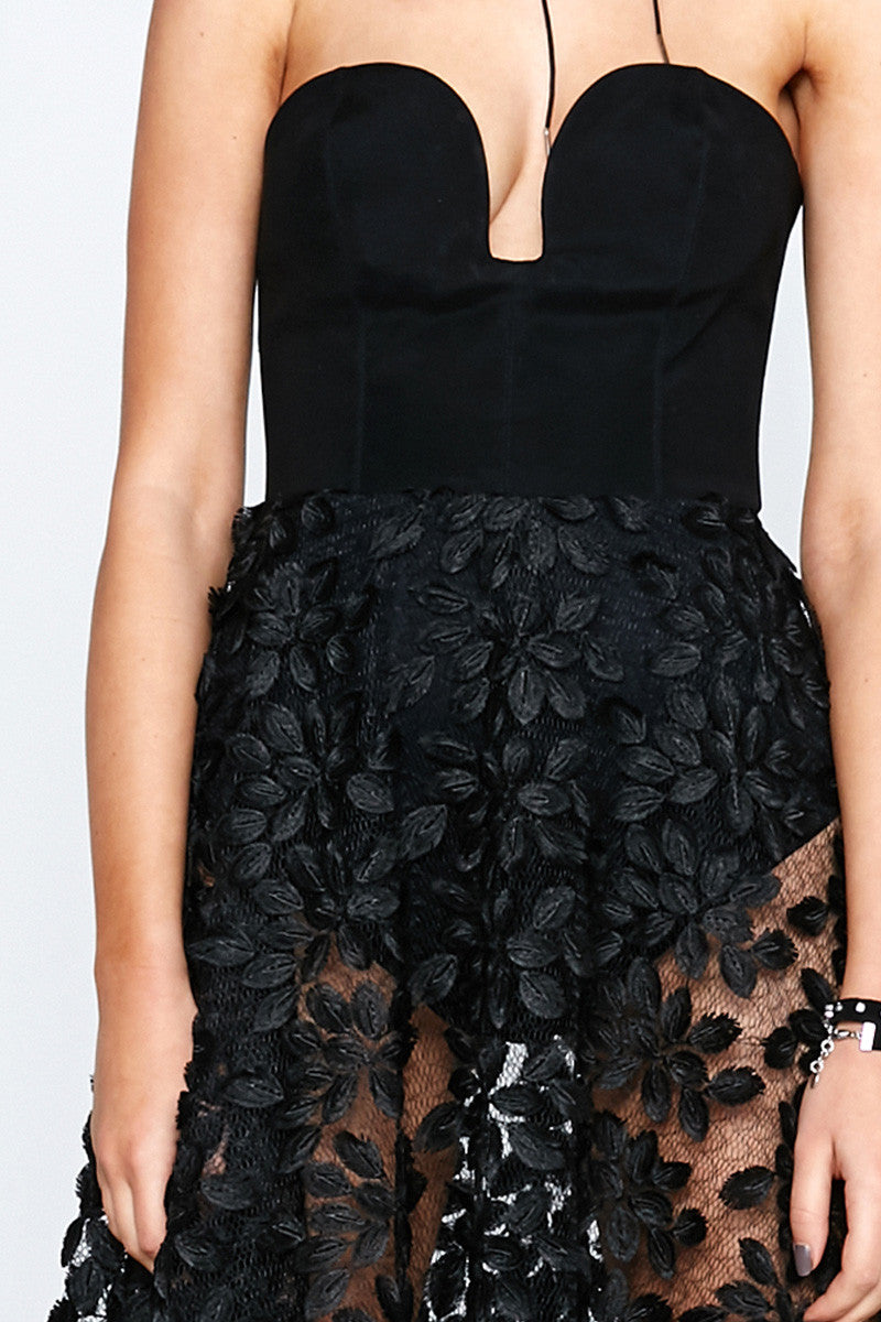 BLACK FEATHER BUSTIER DRESS