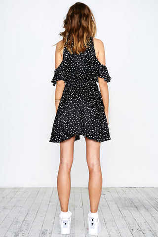 SPOT ON RUFFLE DRESS - BLACK