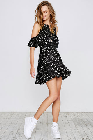 SPOT ON RUFFLE DRESS - BLACK - Shakuhachi