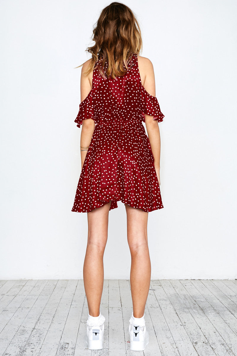 SPOT ON RUFFLE DRESS - BURGUNDY