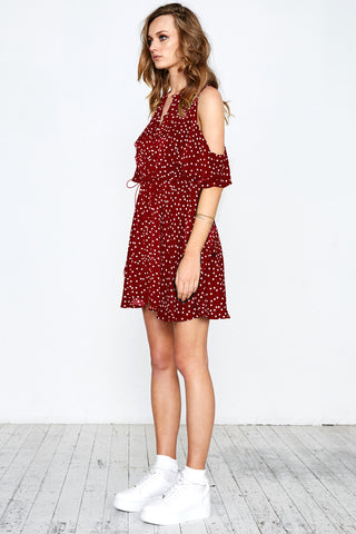 SPOT ON RUFFLE DRESS - BURGUNDY - Shakuhachi