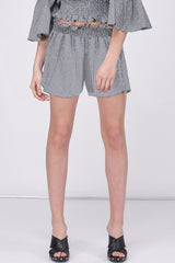 SMOCKED GINGHAM PAPER BAG SHORTS - BLACK WHITE
