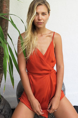 SATIN WRAP MINI ROMPER - ORANGE - Shakuhachi