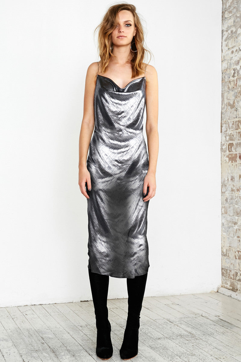 CHAIN GANG CAMI DRESS - SILVER