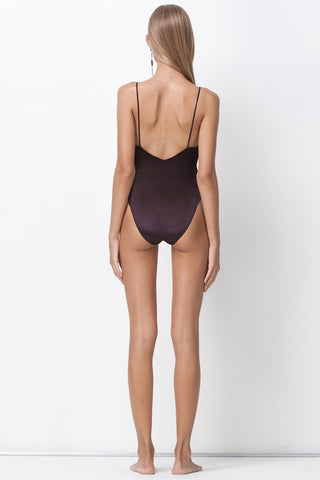 ALL THAT SHINES DEEP V BODYSUIT - PLUM