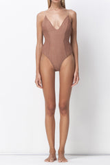 shakuhachi - ALL THAT SHINES DEEP V BODYSUIT - BLUSH - 2