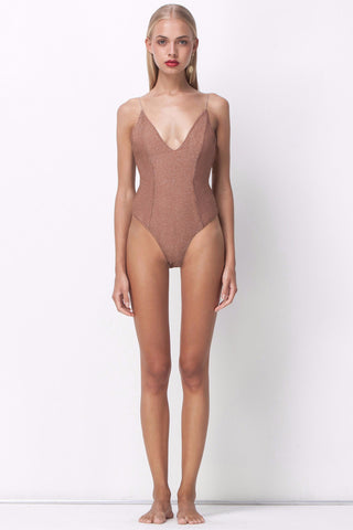 ALL THAT SHINES DEEP V BODYSUIT - BLUSH