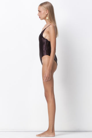 ALL THAT SHINES DEEP V BODYSUIT - PLUM - Shakuhachi