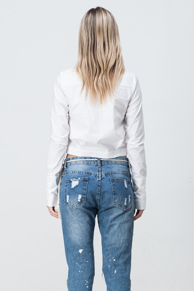 shakuhachi - ANGLED POCKET CROP SHIRT - 2