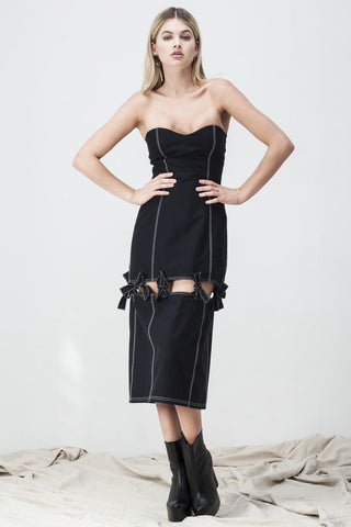BUSTIER SPLIT KNOTTED DRESS BLACK